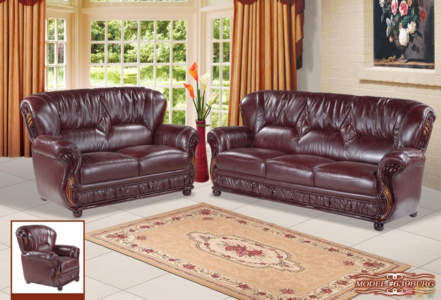 Mina Burgundy Traditional Italian Leather Sofa Loveseat Set With