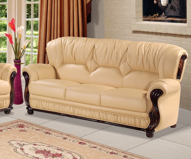Mina Beige Leather Italian Sofa With Wood Accents