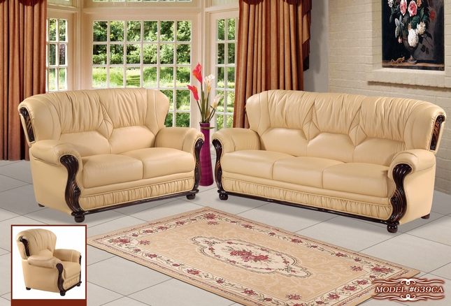 Mina Traditional Camel Leather Italian Sofa & Loveseat With Wood Accents