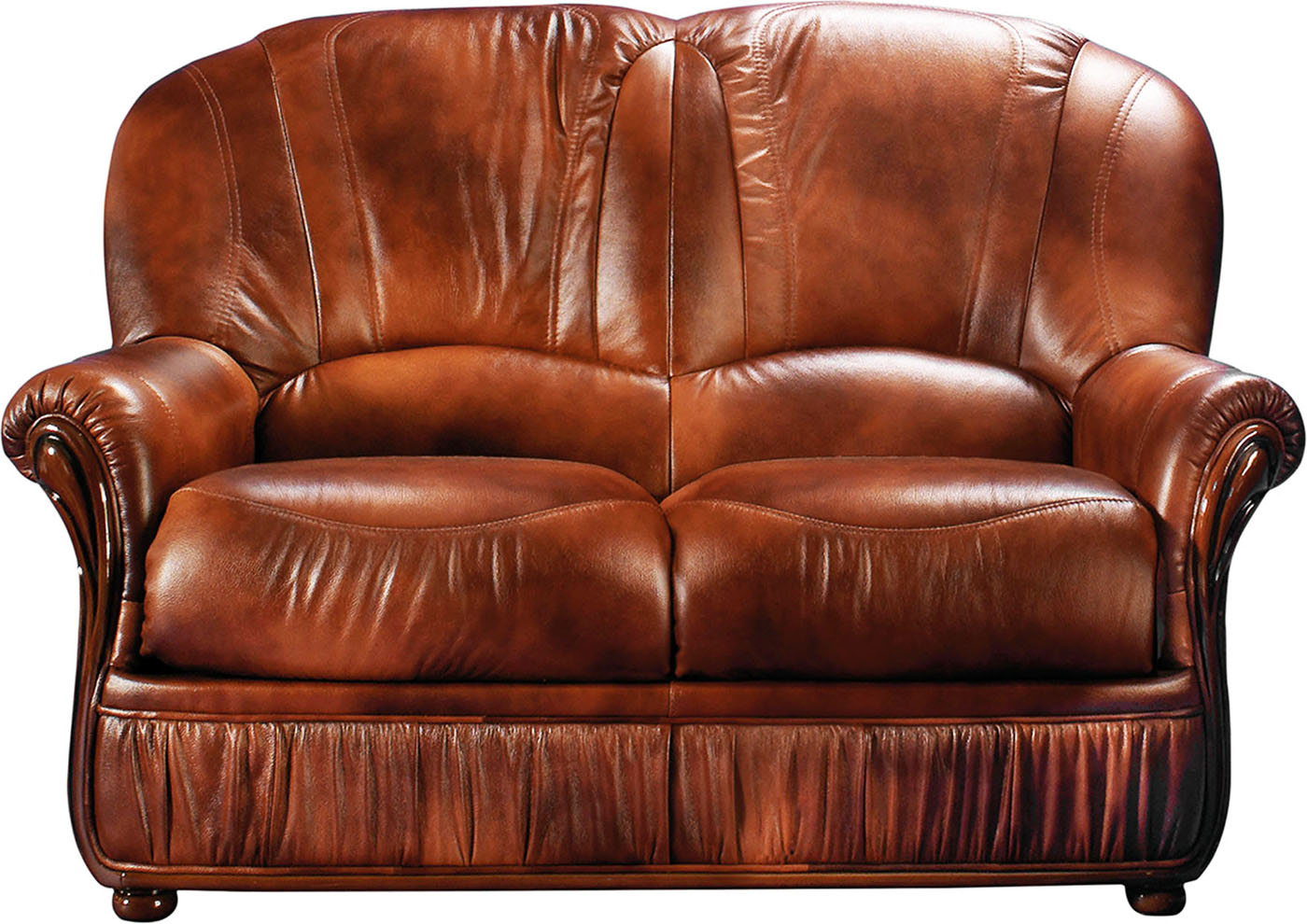 Mina Caramel Brown Leather Italian Loveseat With Wood Accents