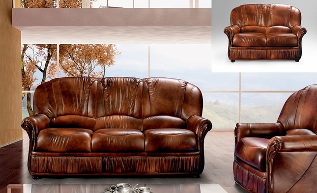 Mina Caramel Brown Leather Italian Sofa