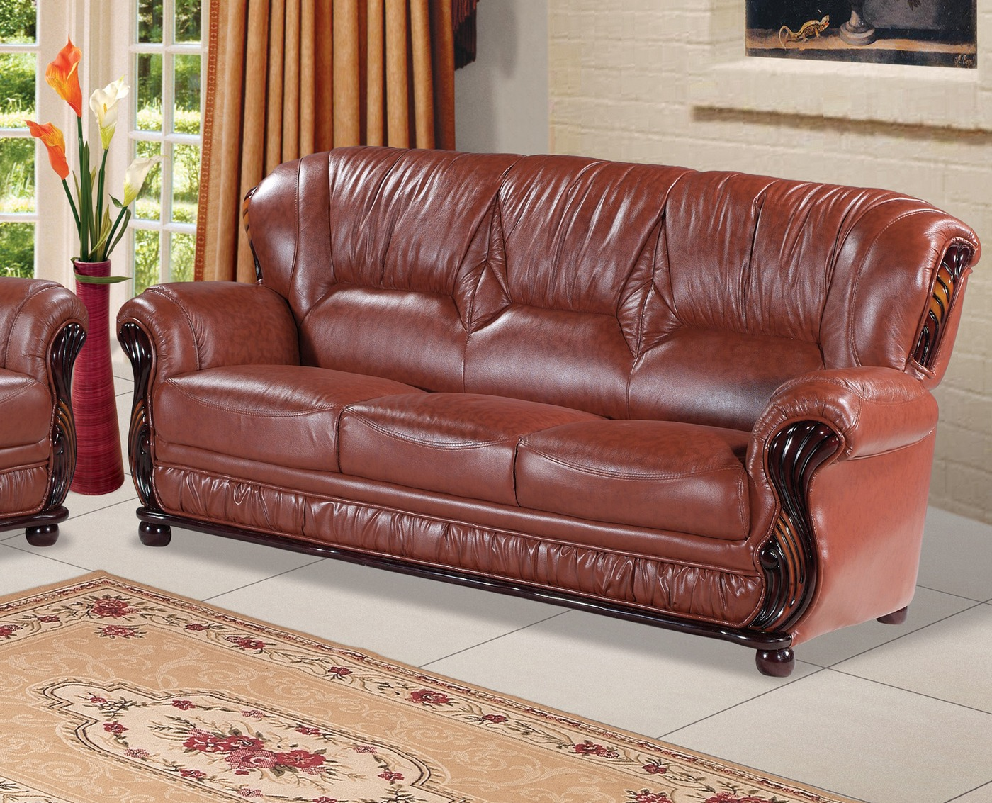 Mina Caramel Brown Leather Italian Sofa With Wood Accents