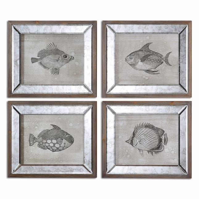 Mirrored Fish Set of 4 Framed Art 41700