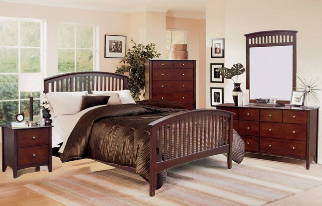Mission Style 4 Piece Bedroom Set in Dark Brown Cappuccino Finish
