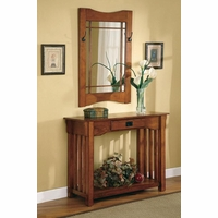 Mission Style Entry Way Table Mirror Medium Oak Finish