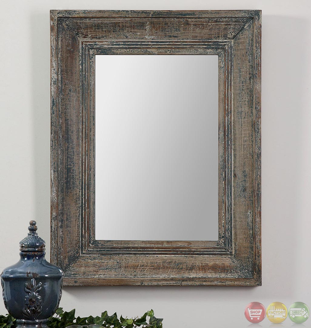 Missoula distressed blue green small wall mirror 13854 for Small wall mirrors