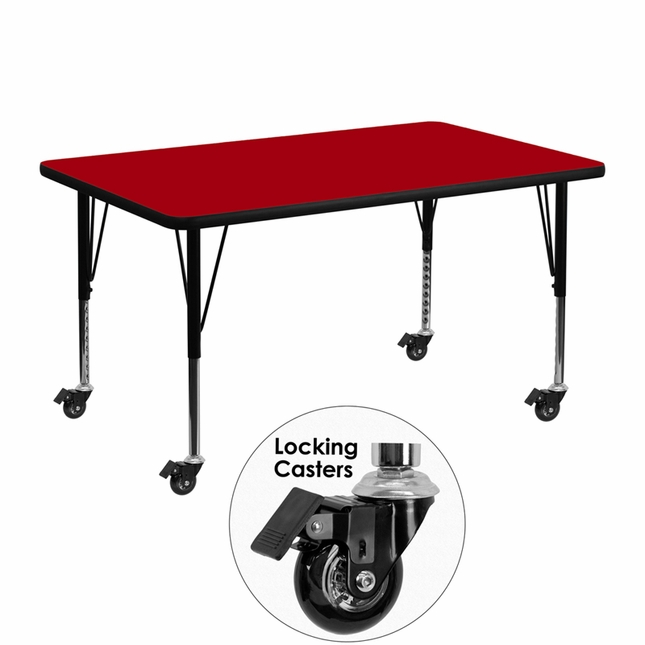 """Mobile 30""""Wx48""""L Activity Table W/ Red Laminate Top & Height Adjustable Legs"""