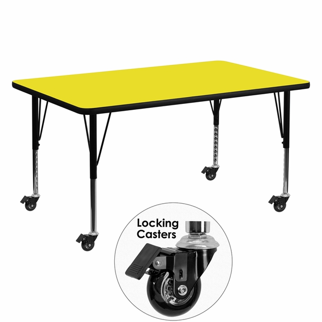 "Mobile 30""Wx60""L Rectangular Activity Table W/ Yellow Top & Adjustable Legs"