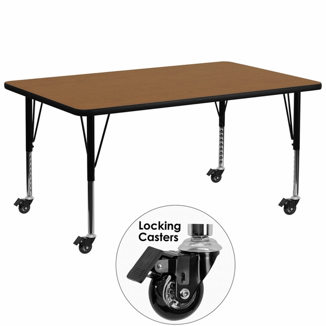 "Mobile 30""Wx72""L Activity Table W/ Oak Laminate Top & Height Adjustable Legs"
