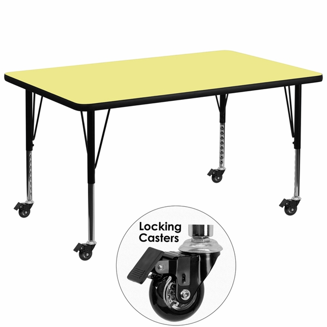 "Mobile 36""Wx72""L Activity Table W/ Yellow Laminate Top & Adjustable Legs"