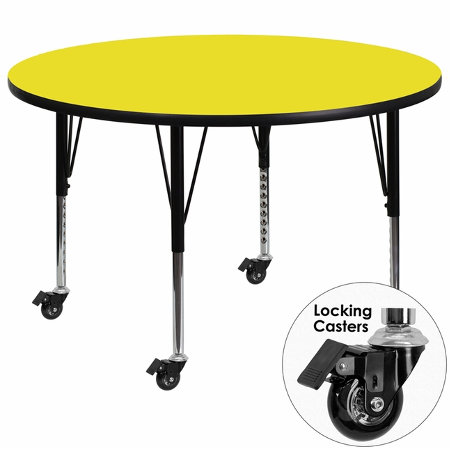 Mobile 48'' Round Activity Table W/ Yellow Laminate Top & Height Adjustable Legs