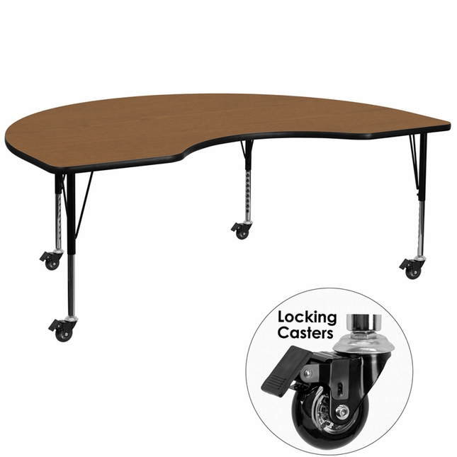 "Mobile 48""Wx72""L Kidney Shaped Preschool Activity Table W/ Oak Laminate Top"