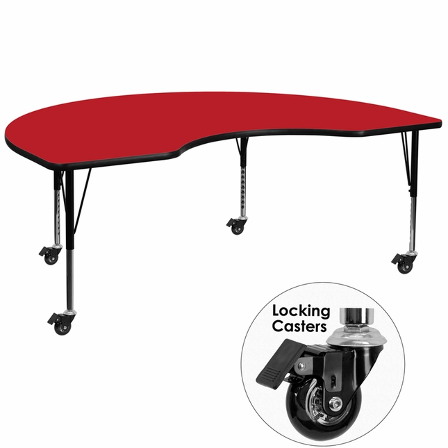 "Mobile 48""Wx72""L Kidney Shaped Preschool Activity Table W/ Red Laminate Top"