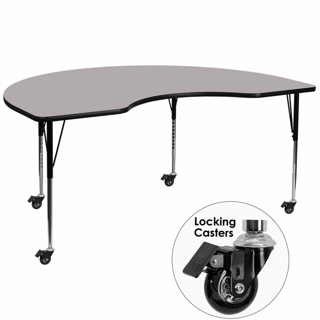 """Mobile 48""""Wx96""""L Kidney Shaped Preschool Activity Table W/ Grey Laminate Top"""