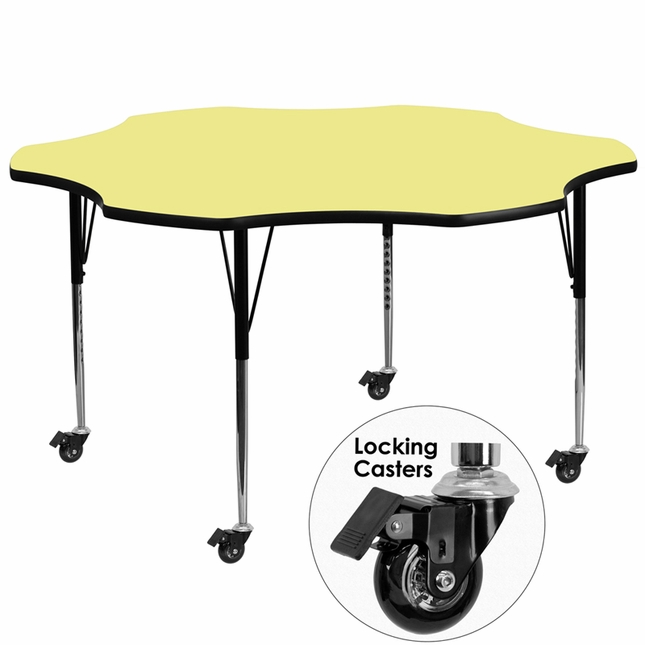 Mobile 60'' Flower Activity Table W/ Yellow Laminate Top & Adjustable Legs