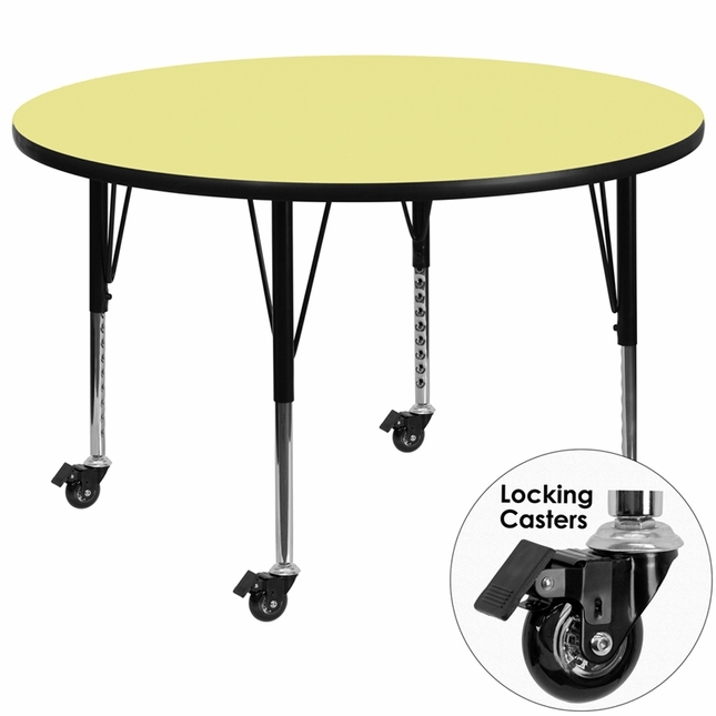 Mobile 60'' Round Activity Table W/ Yellow Laminate Top & Height Adjustable Legs