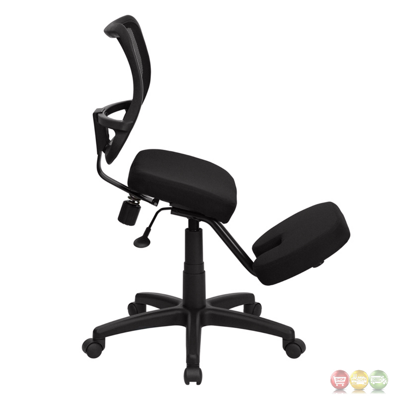 Mobile Ergonomic Kneeling Task Chair With Black Curved