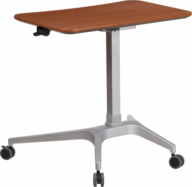 Mobile Sit Down Stand Up Mahogany Computer Desk W 28 25 Quot W