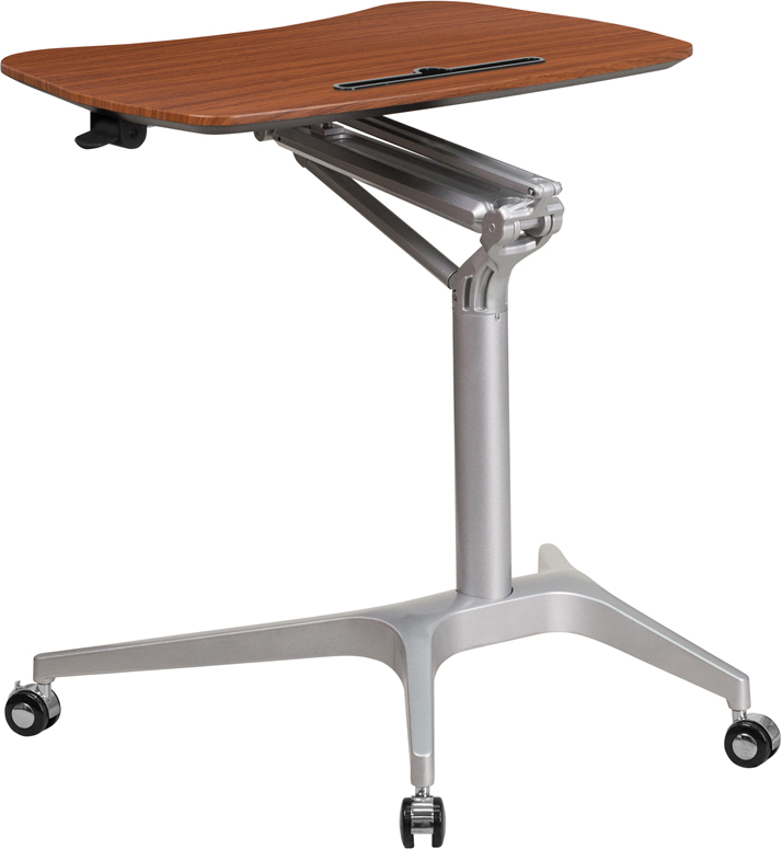 Mobile Sit Down Stand Up Mahogany Computer Desk W 28 75 Quot W