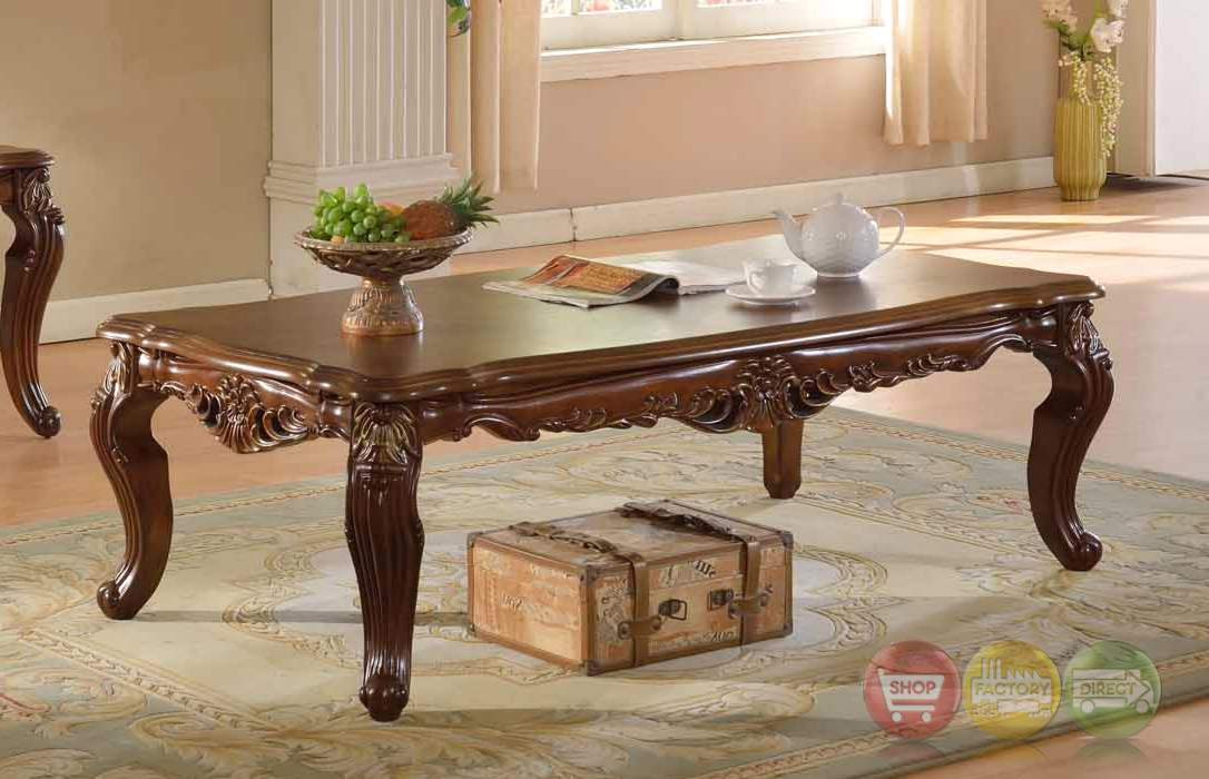 Modena Cherry Coffee Table With Ornate Hard Carved Design