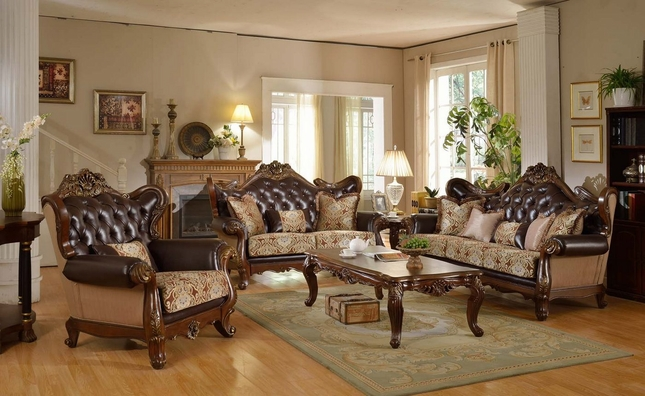 Modena Traditional Winged Back Beige Sofa & Loveseat Set w/ Brown Tufted Leather