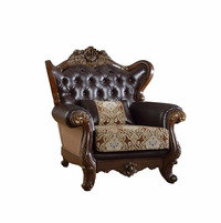 Modena Winged Back Beige Chair With Brown Tufted Leather