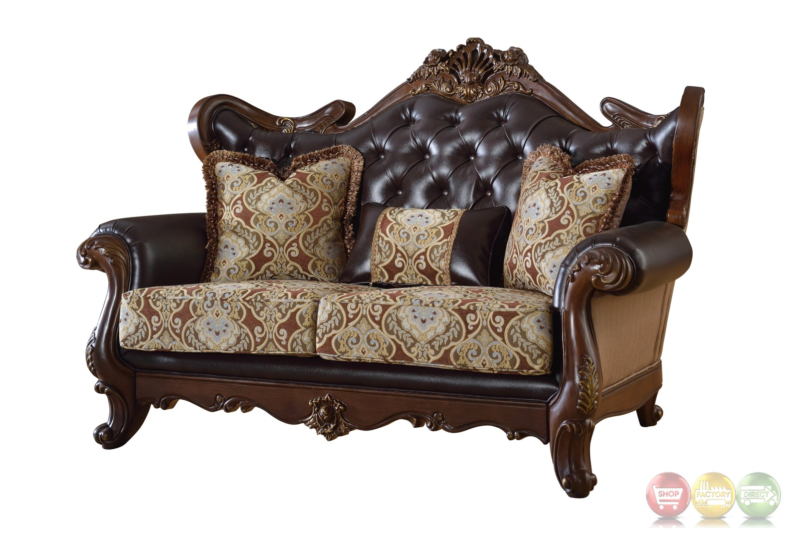 Modena Winged Back Beige Loveseat With Brown Tufted Leather