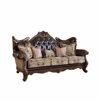 Modena Winged Back Beige Sofa With Brown Tufted Leather
