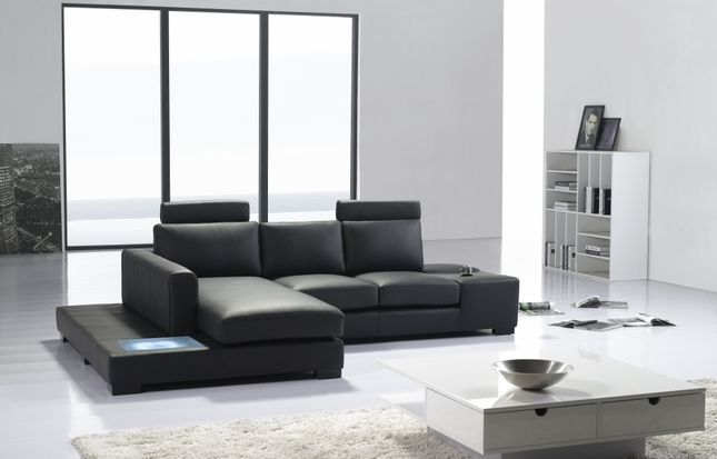 modern black italian leather sectional sofa t35 mini w lighting
