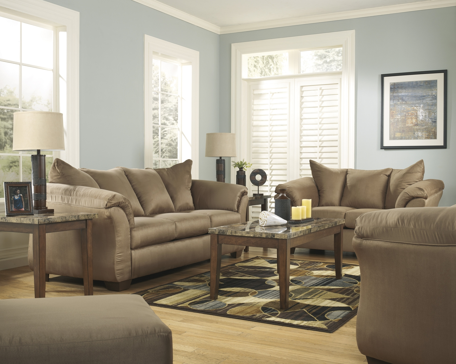 Modern camel tone plush upholstered sofa and loveseat set Upholstered sofas and loveseats