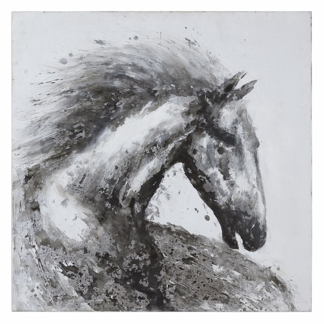 "Modern Handpainted Proud Friend Horse Wall Art On Stretched Canvas, 50""x50"""
