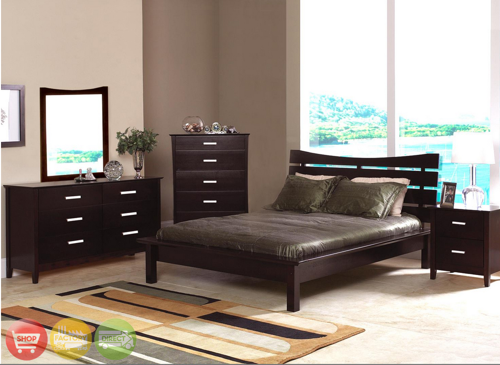 Modern queen cappuccino finish bedroom furniture set for Queen bed frame and dresser set