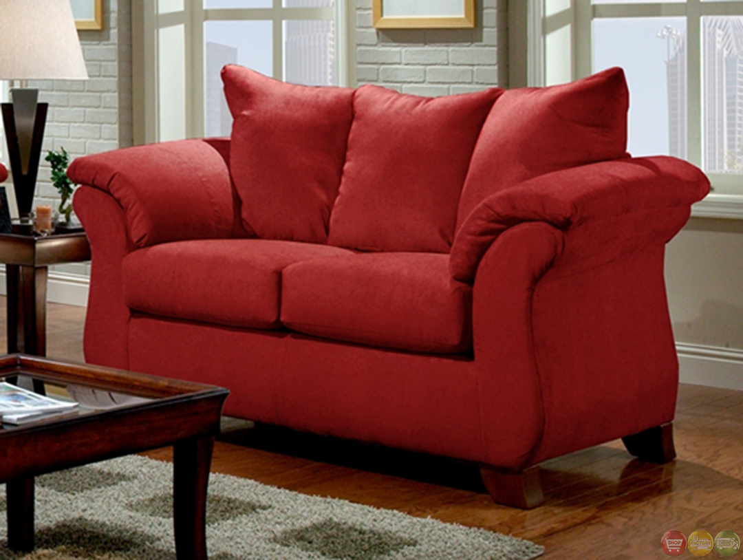 Modern Red Sofa Loveseat Living Room Furniture Set