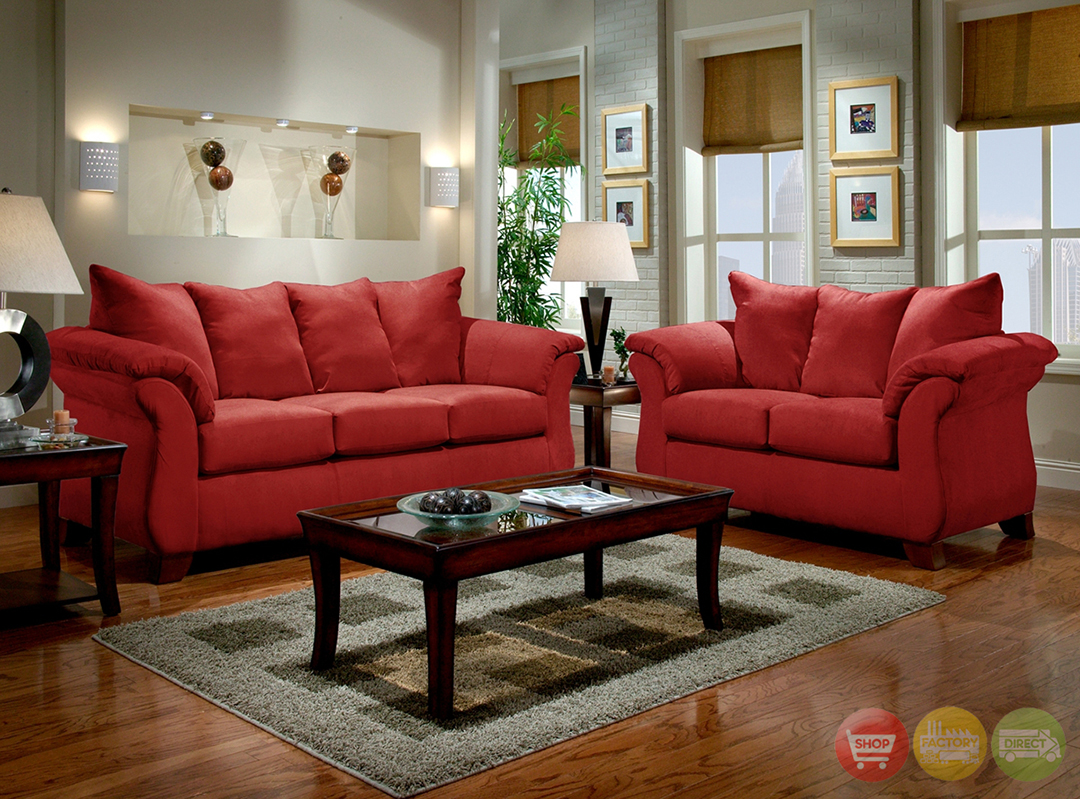 Modern red sofa loveseat living room furniture set for Modern red living room furniture
