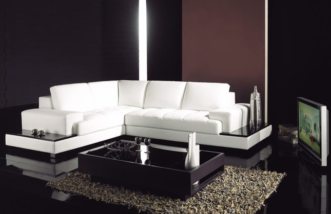 Modern White Italian Leather Sectional Sofa With Built In Shelves T71