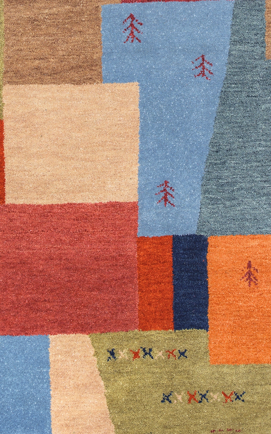 mojave abstract block detail wool area rug in blue red tan green 8 39 x 10 39. Black Bedroom Furniture Sets. Home Design Ideas