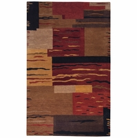 Mojave New Zealand Wool Area Rug 5 x 8' Rust Copper Brown Camel Tan Red Block