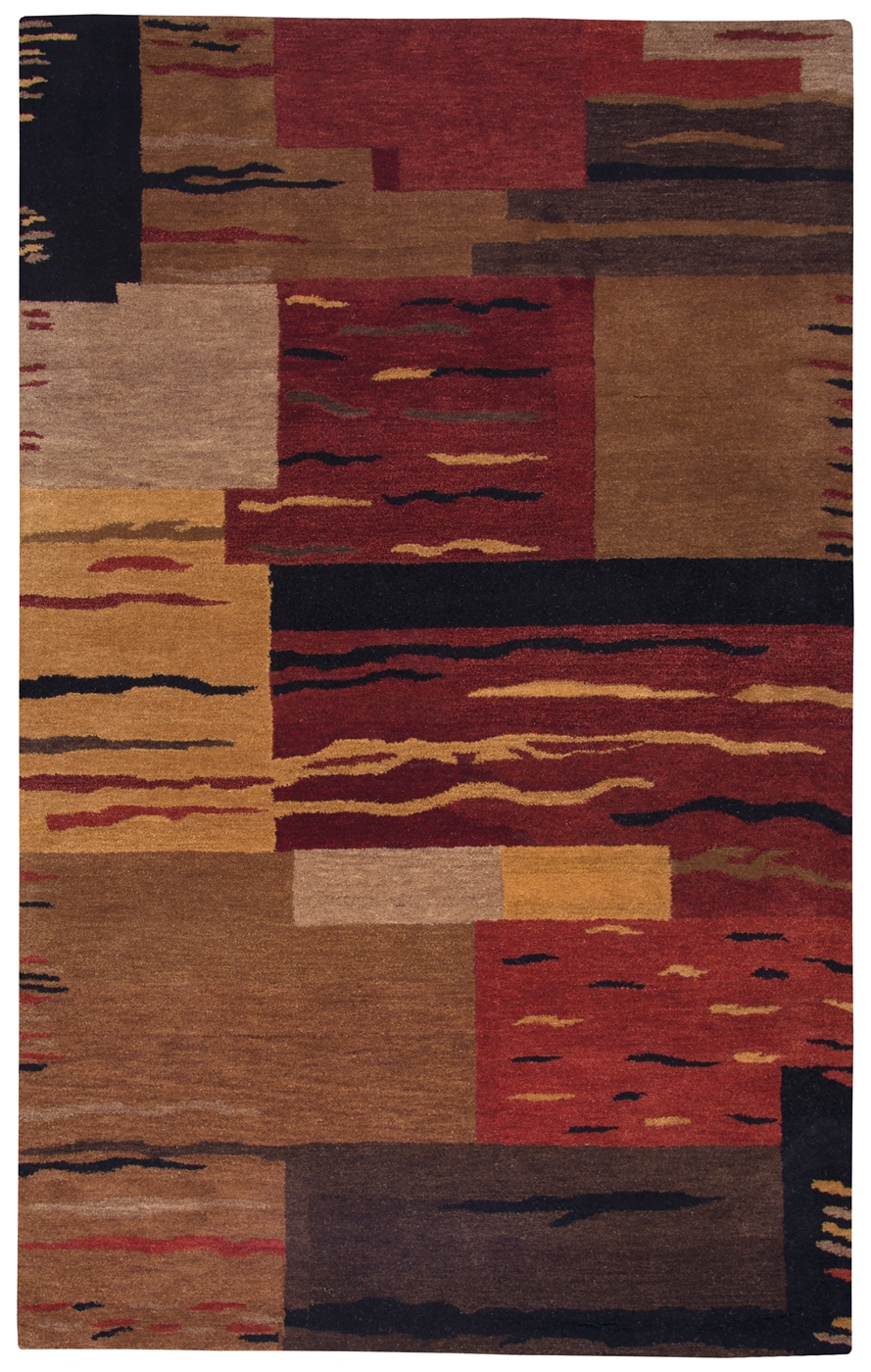 Mojave Abstract Blocks Wool Area Rug In Red Brown Black