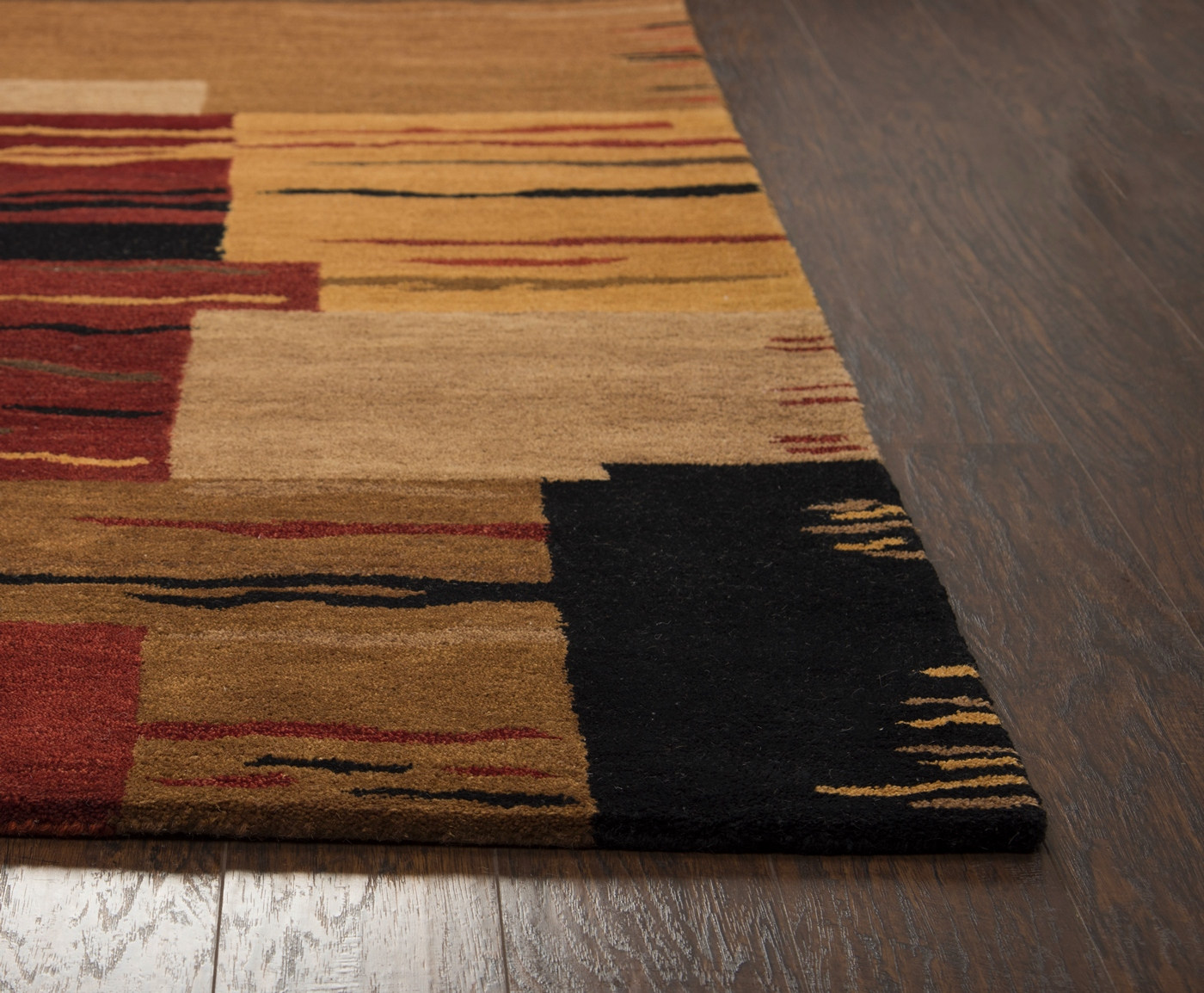 mojave abstract blocks wool area rug in red brown black. Black Bedroom Furniture Sets. Home Design Ideas