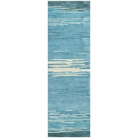 """Mojave New Zealand Wool Runner Area Rug 2'6""""x 8' Blue Ivory White Grey Abstract"""