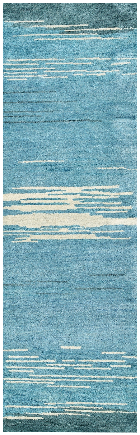 Mojave Abstract Fine Lines Wool Runner Rug In Blue Ivory