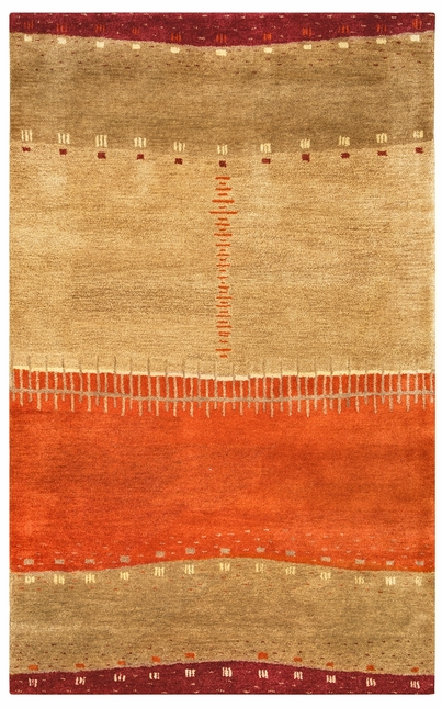 Mojave Abstract Patchwork Wool Area Rug In Red Tan Orange Beige 5 X 8