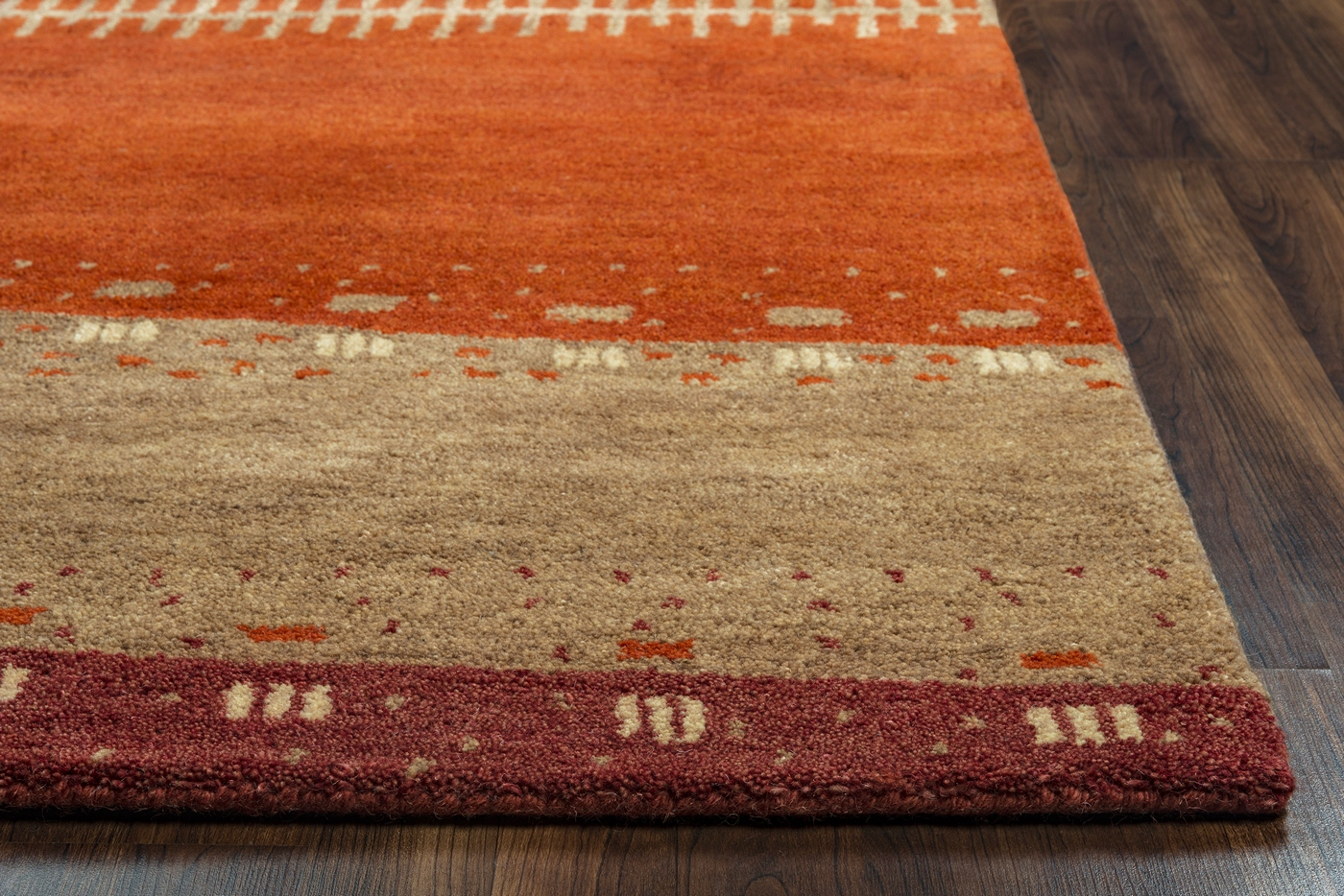 Mojave Abstract Patchwork Wool Area Rug In Red Tan Orange