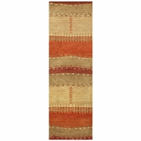 """Mojave New Zealand Wool Runner Area Rug 2'6""""x 8' Red Tan Orange Brown Abstract"""