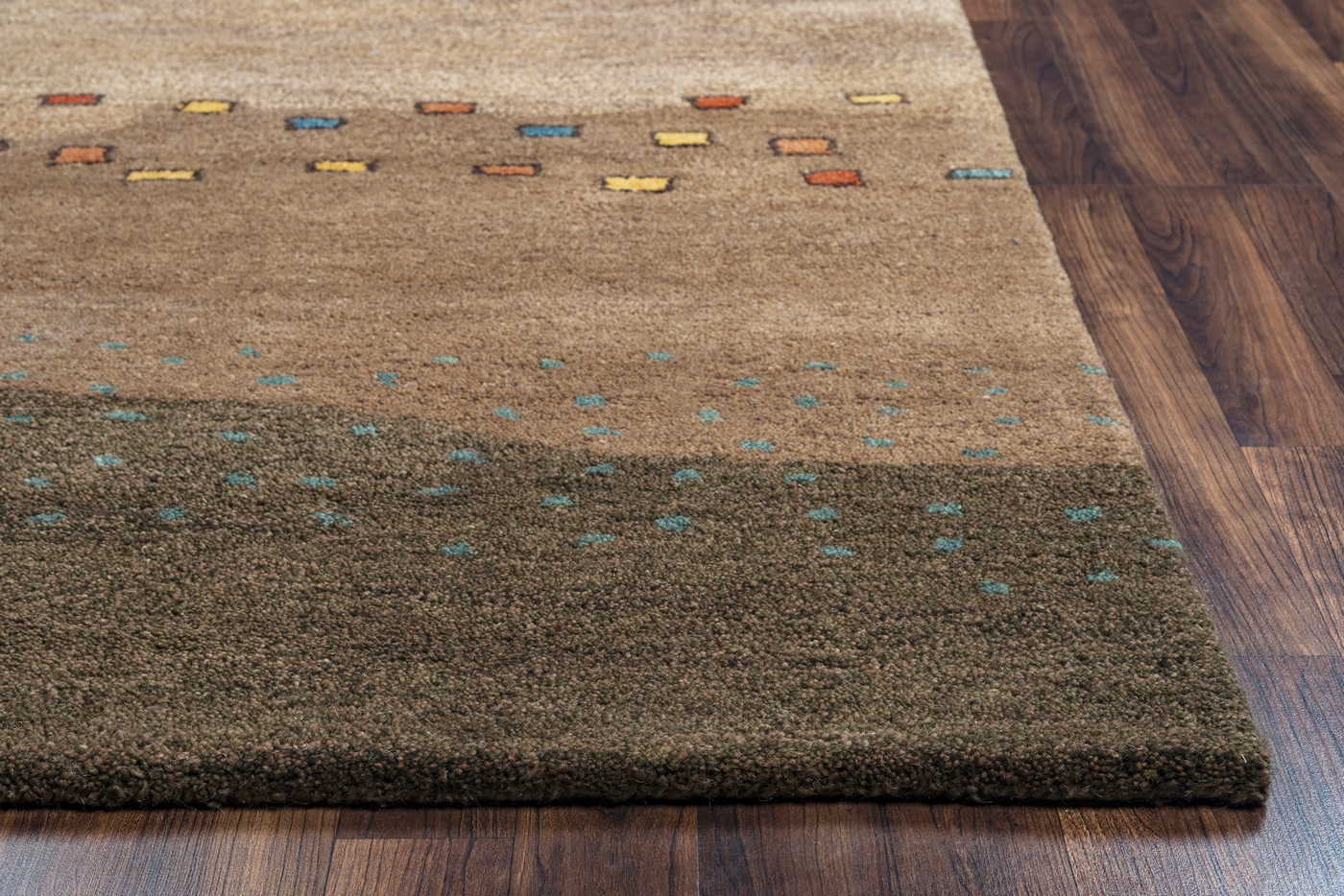 Mojave Abstract Sand Dunes Wool Area Rug In Tan Brown