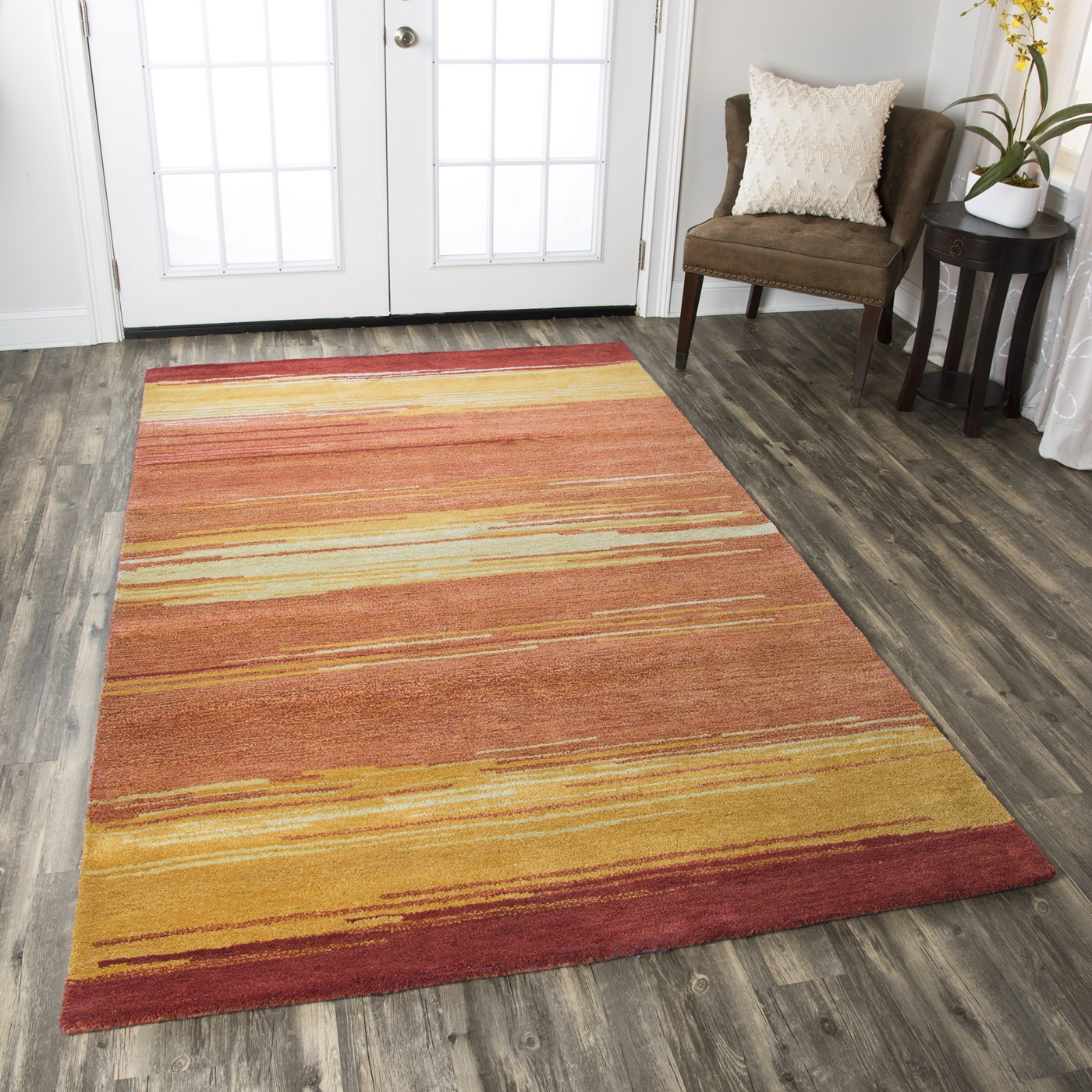 Area Rug 8x10 Orange: Mojave Gradient Abstract Lines Wool Area Rug In Gold