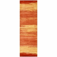 """Mojave New Zealand Wool Cotton Runner Area Rug 2'6""""x 8' Gold Orange Red Abstract"""