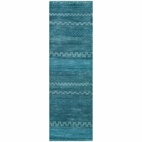 """Rizzy Mojave New Zealand Wool Rectangular Runner Area Rug 2'6""""x 8' Blue Abstract"""