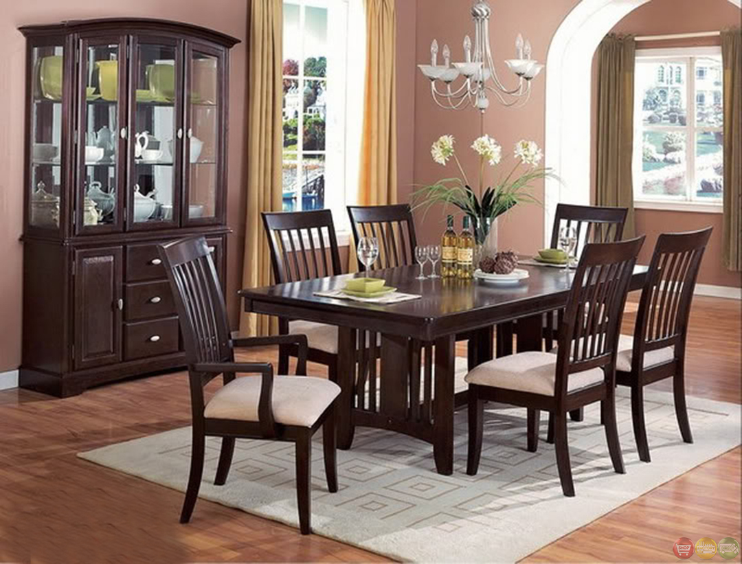 Monaco cappuccino casual dining room table and chairs set for Casual dining room chairs