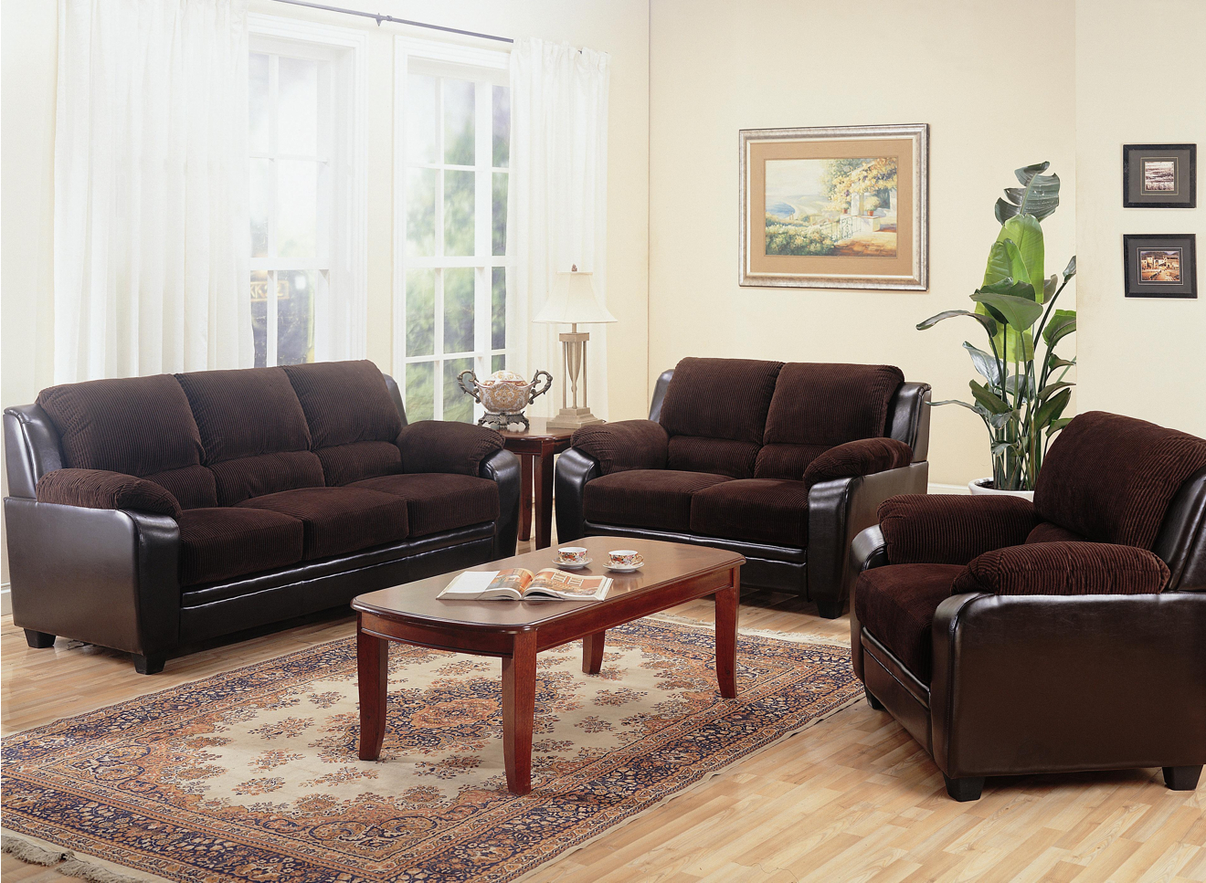 Monika two toned dark brown corduroy casual living room for Brown living room set
